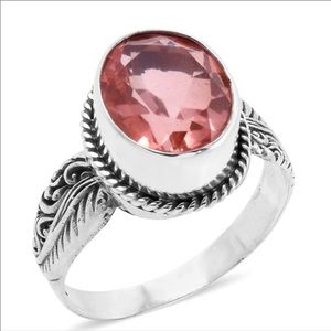 Sterling Silver Morganite Ring Size 8 Jewerly